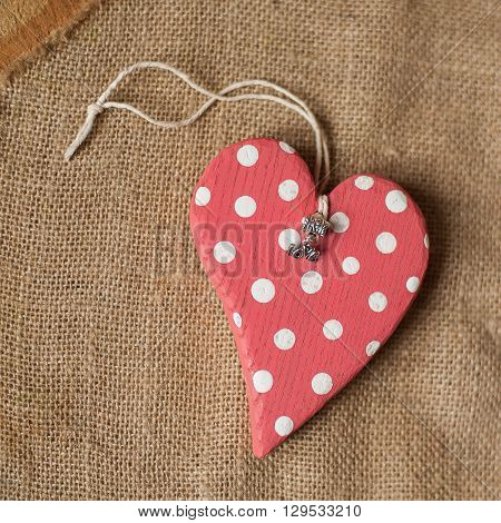 handmade wooden polkadot red heart with love pendant