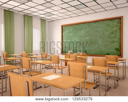 3d illustration of bright empty classroom for lessons and training