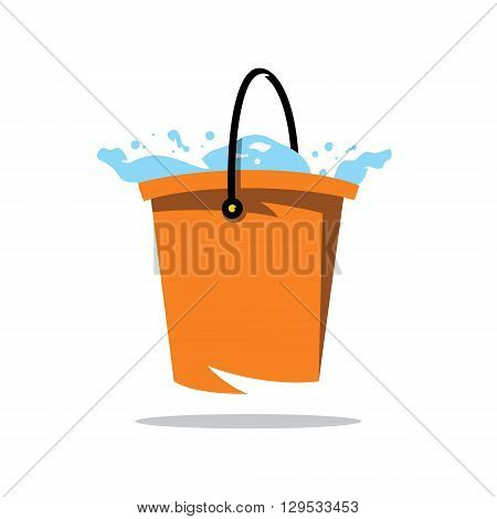 Bucket with Water Isolated on a White Background