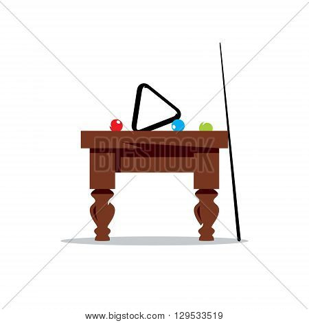 Full Pool Table with Balls, and Cue Isolated on a White Background
