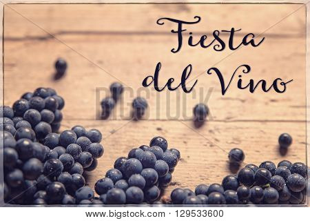 blue grapes on wooden table spanish text fiesta del vino which means wine festival vintage filtered