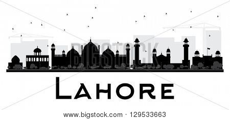 Lahore City skyline black and white silhouette. Simple flat concept for tourism presentation, banner, placard or web site. Business travel concept. Cityscape with landmarks