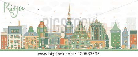 Abstract Riga Skyline with Color Landmarks. Business Travel and Tourism Concept with Historic Buildings. Image for Presentation Banner Placard and Web Site.