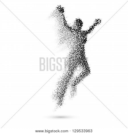 Jumping Woman From in Black Dots on White