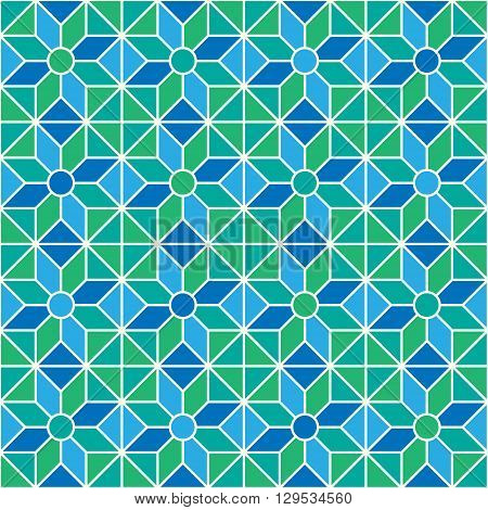Stained-glass window pattern with simple geometric shapes. Abstract geometric pattern. Vector pattern with diamond shapes and triangles. Seamless abstract background.