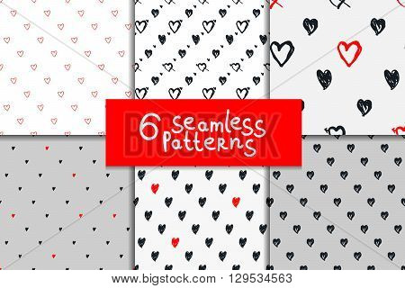 Doodle seamless pattern set with hearts. Hand-drawn heart vector background. Seamless heart pattern. Black and white seamless background heart shapes. Valentine day background. Red hearts