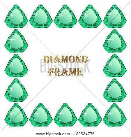 Emerald square frame. Vector illustration jewerly. Abstract diamond vector. Diamond border