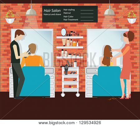 Hairdresser cuts customer s hair in the beauty salon hairdresser fashion model Hair salon interior building vector illustration.
