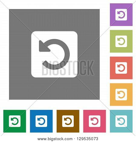 Rotate left flat icon set on color square background.