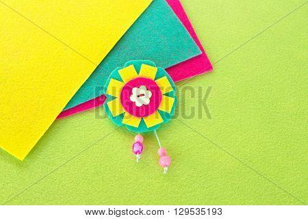Felt floral brooch. Bright accessory for girls