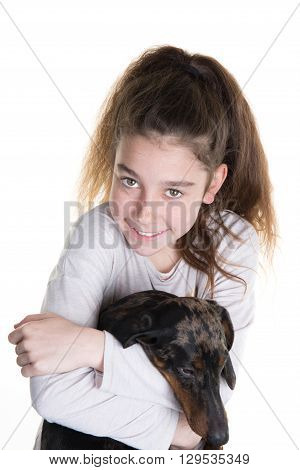 Pretty Young Girl  With A  Dog, Isolated