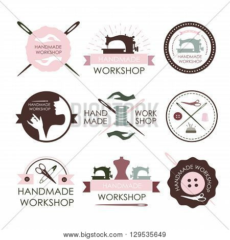 Handmade workshop logo vintage vector set. Set of vintage tailor labels, emblems and designed elements