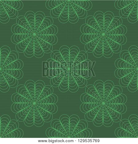 following a spiral pattern ornament circles on a green abstraction