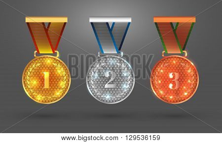 Gold Silver and Bronze medals. Set with medal icons for first second and third places. Vector illustration. EPS 10