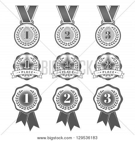 Gold Silver and Bronze medals. Set with flat medal icons for first second and third places. Vector illustration. EPS 10