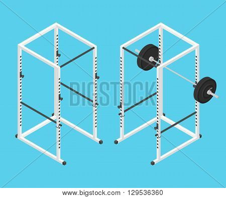 Isometric gym power rack with barbell. Vector illustration