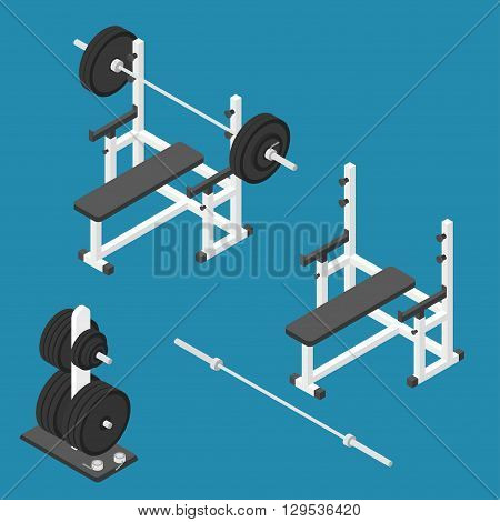 Isometric gym equipment. Gym workout equipment. Press bench, barbell, weights stand and bar. Vector illustration