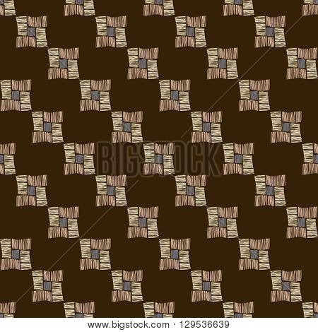 Hand drawn grunge seamless pattern. Abstract seamless pattern. Ethnic pattern. Textile vector brown. Diagonal lines, checkered pattern