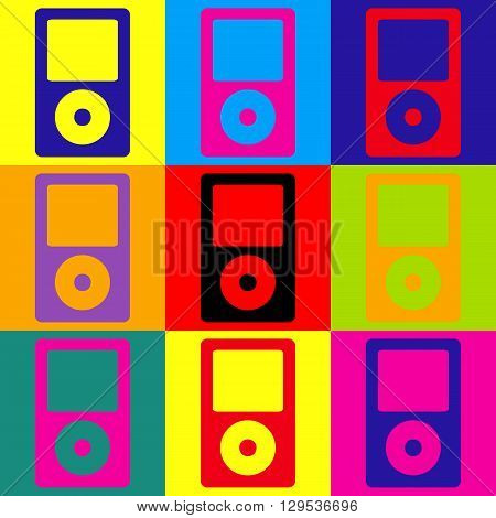 Portable music device. Pop-art style colorful icons set.