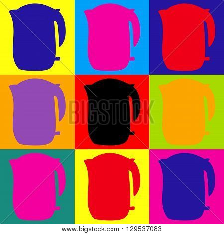 Electric kettle icon. Pop-art style colorful icons set.
