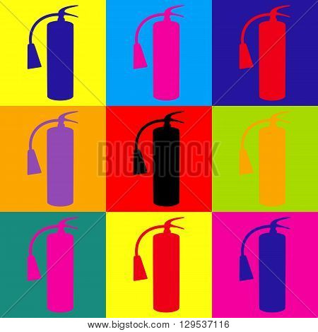 Fire extinguisher icon. Pop-art style colorful icons set.