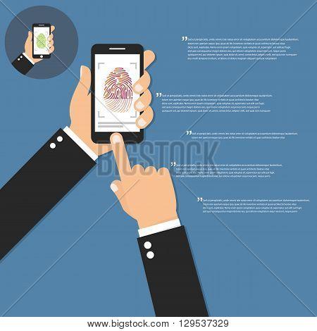 Hand holding smart phone and scanning fingerprint