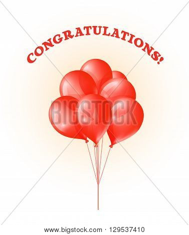 Bunch of red glossy balloons with text Congratulations