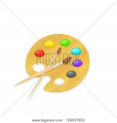 Illustration of palette with paints and brushes