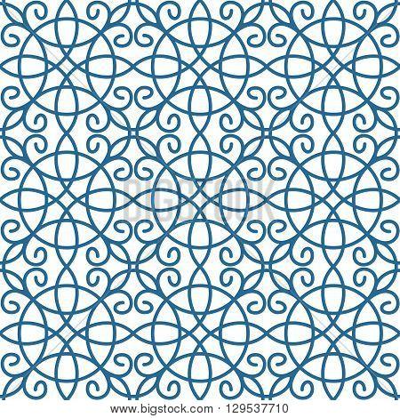 Vector asian ornament. Monochrome geometric seamless pattern