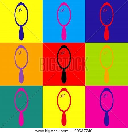 Hand Mirror Icon. Pop-art style colorful icons set.