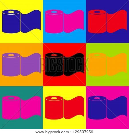 Toilet Paper Icon. Pop-art style colorful icons set.