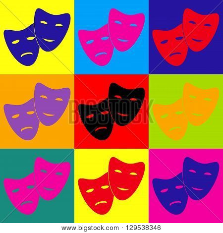 Theater icon with happy and sad masks. Pop-art style colorful icons set.