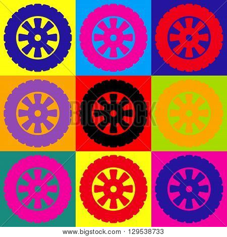 Road tire icon. Pop-art style colorful icons set.