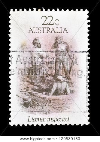AUSTRALIA - CIRCA 1981 : Cancelled postage stamp printed by Australia, that shows Licence inspected.