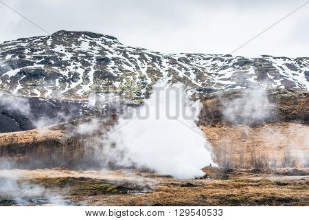 Geothermal Nature With Steamy Fields