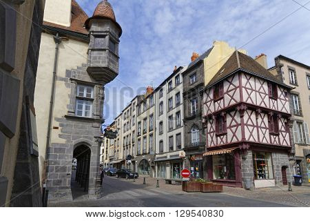 RIOM FRANCE May 8 2016 : Medieval streets in Riom. Until the French Revolution Riom was the capital of the province of Auvergne and the seat of the dukes of Auvergne.