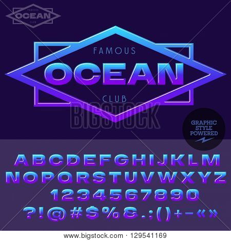 Violet and blue glossy emblem for for yacht club. Vector set of alphabet letters, numbers and punctuation symbols