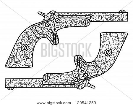 Pistols coloring book for adults vector illustration. Black and white lines. Lace pattern