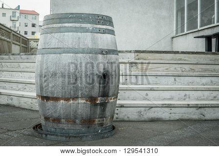 Wooden Wine Barrel Outdoors