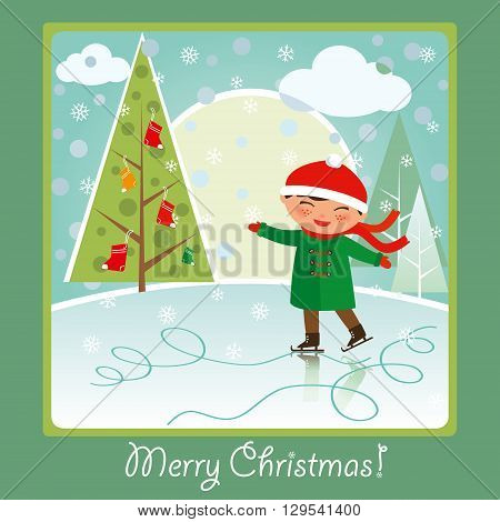 Merry Christmas card: cute boy skating on the rink smiling and having fun.