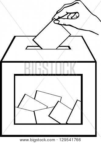 hand depositing a ballot