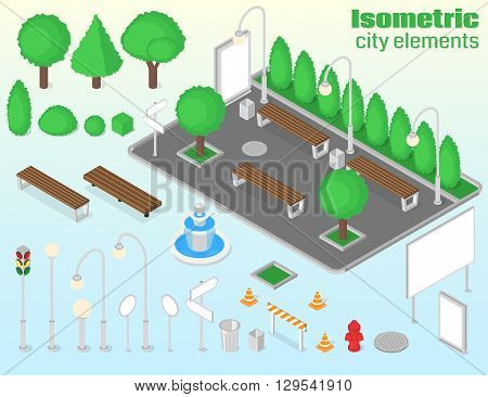 Isometric city elements set. Outdoor isolated objects. Vector illustration