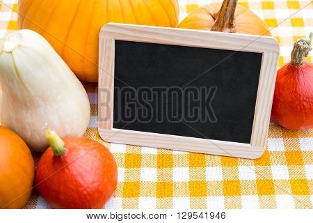 Lots of Pumpkins and Slate with Copyspace on a yellow chequers tablecloth