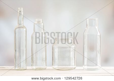 Glass Bottles On A Row