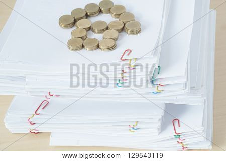 Pile Of Overload Paper Have Blur Gold Coins Place As House