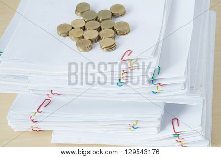Pile Of Paperwork Have Blur Pile Of Gold Coins