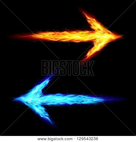 Blue and orange fire arrows pointing in opposite directions on black background