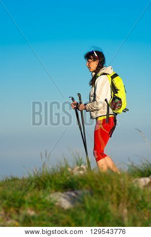 Rest On Nordic Walking A Girl