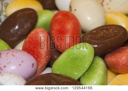 sweet candy eggs as an easter treat