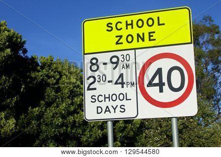 School zone 40 kilometre warning sign, Australia
